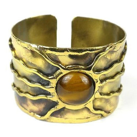 Gold Tiger Eye Sun Cuff - Brass Images (C)