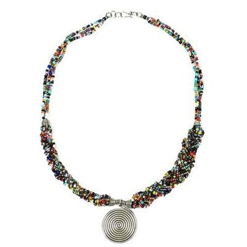 Single Spiral 'Elegance' Braided Multicolor Bead Necklace - Zakali Creations