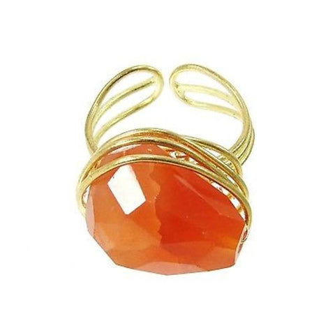 Agate Chunk Statement Ring in Orange - WorldFinds