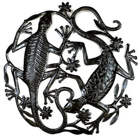 24 inch Metal Art Two Geckos - Croix des Bouquets