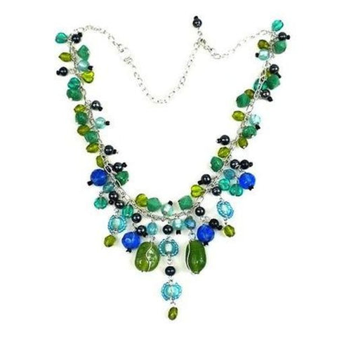 Green and Blue Glass Bead Charm Necklace - WorldFinds