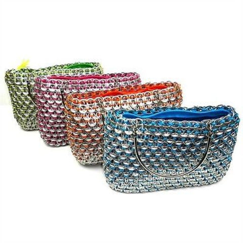 Colorful Recycled  Poptop Handbag with Metal Handles - ImagineArte