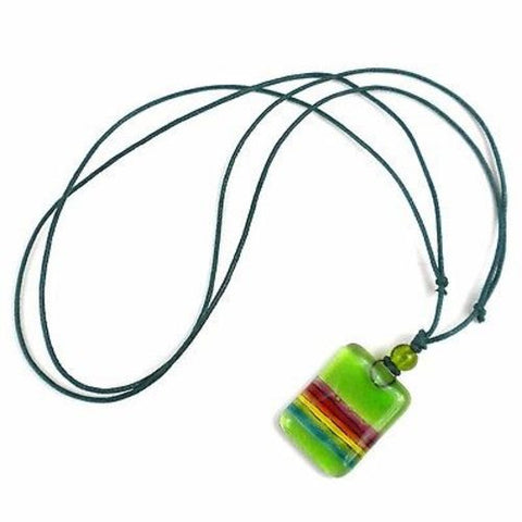 Lime Green Rainbow Fused Glass Pendant Necklace - Tili Glass
