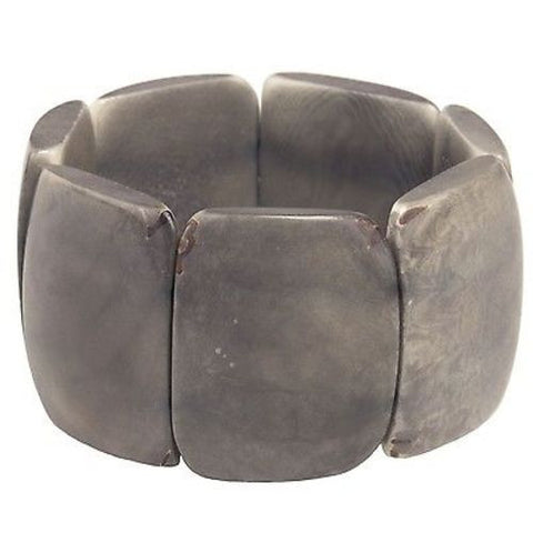Polished Tagua Nut Bracelet in Soft Gray - Faire Collection