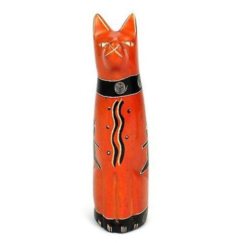Handcrafted 5-inch Soapstone Sitting Cat Sculpture in Orange - Smolart
