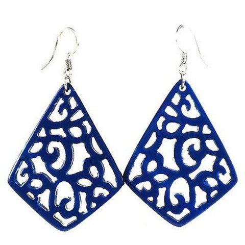 Handmade Bullhorn Juliet Lace Earrings - Bluebird - Faire Collection