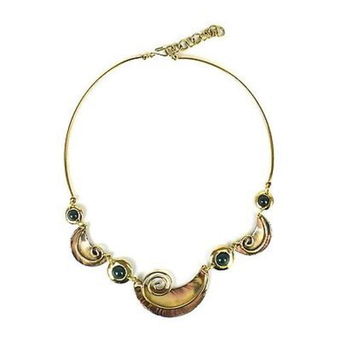Crescent and Green Stone Brass Necklace - Brass Images (N)