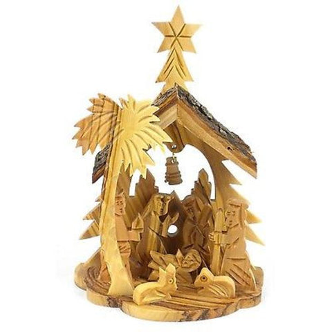 Olive Wood Medium Nativity with Bell in Back - Bethlehem