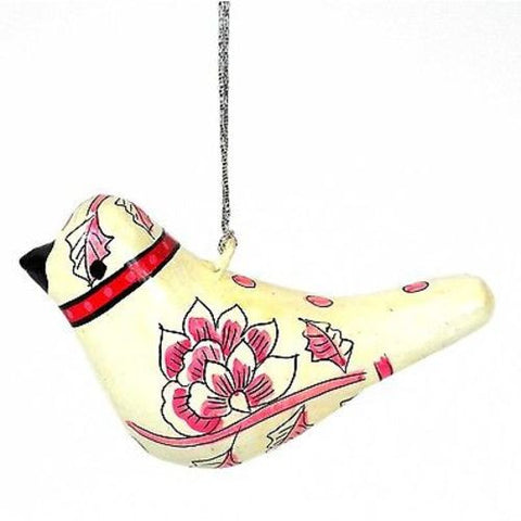 Papier Mache Dove Ornament - 4 inch - Cream - CFM (H)