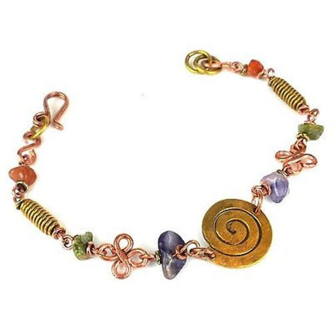 Handcrafted Copper, Brass, and Agate Bracelet with Brass Swirl - Zakali Creations