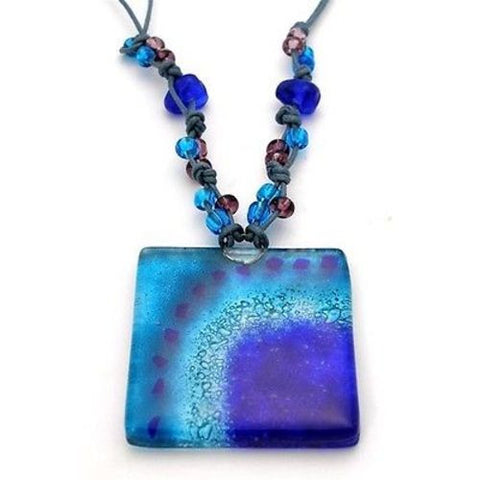 Blue Margarita Translucent Square Fused Glass Pendant Necklace - Tili Glass