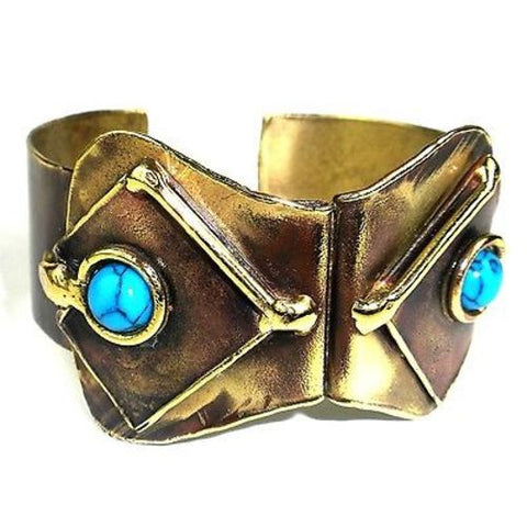 Folded Turquoise Cuff - Brass Images (C)