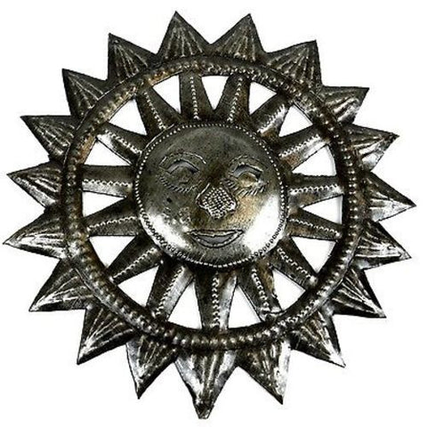8-inch Haitian Steel Drum Sun Face Wall Art - Croix des Bouquets