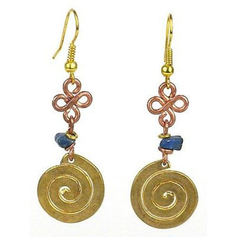 Handcrafted Copper, Brass, and Agate Earrings with Brass Swirl - Zakali Creations