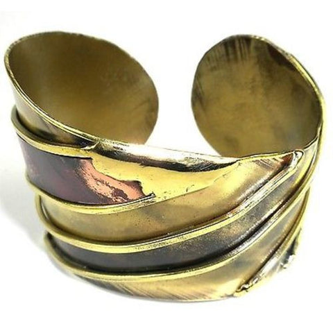 Brass and Copper Serenity Cuff - Brass Images (C)