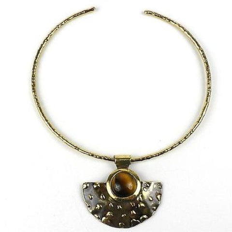 Make Your Mark Tiger Eye Pendant Necklace - Brass Images (N)