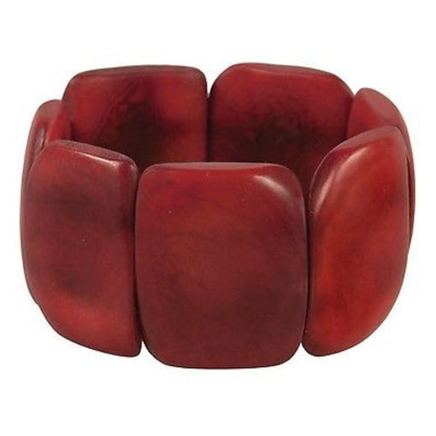 Polished Tagua Nut Bracelet in Burgundy - Faire Collection