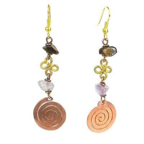 Handcrafted Copper, Brass, and Agate Earrings with Copper Swirl - Zakali Creations