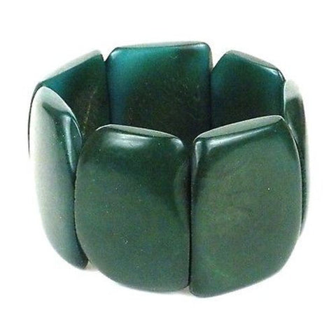 Polished Tagua Nut Bracelet in Hunter Green - Faire Collection