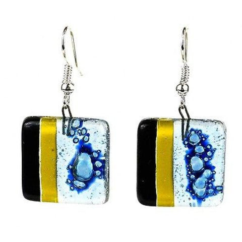 Handcrafted Geometric Square Fused Glass Earrings - Tili Glass