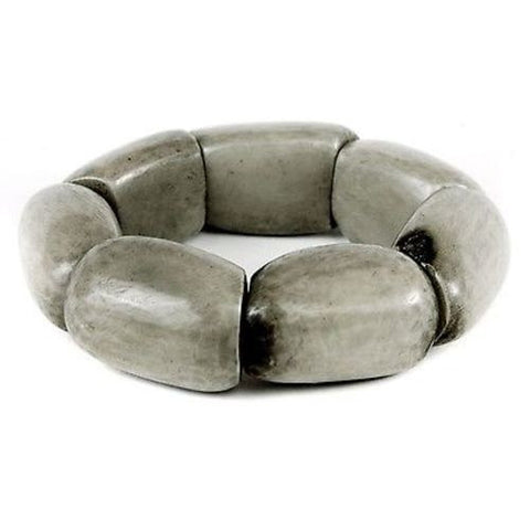 Riverbed Tagua Nut Bracelet in Soft Gray - Faire Collection