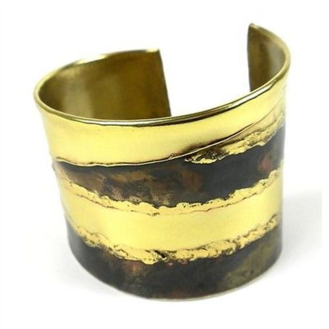 Strong Stripes Copper and Brass Cuff - Brass Images (C)