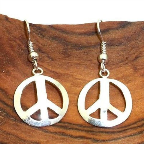 Alpaca Silver Peace Symbol Earrings - Artisana