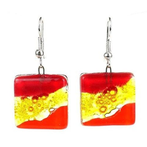 Red Wave Square Fused Glass Earrings - Tili Glass