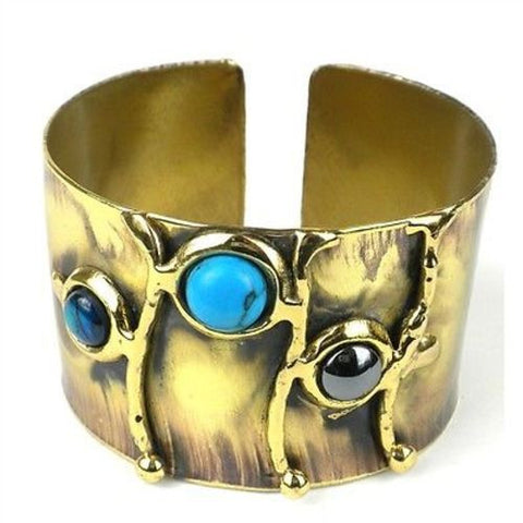 Deep Sea Shell and Stone Cuff - Brass Images (C)