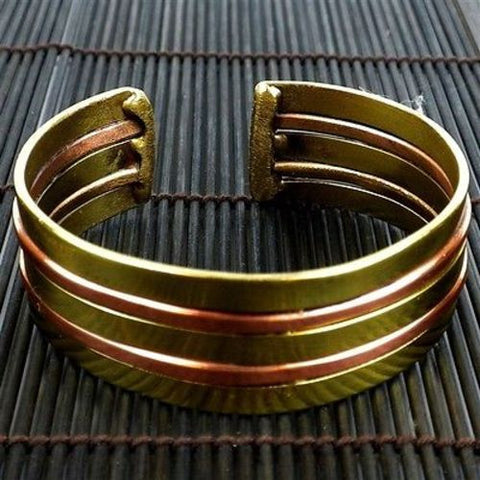 Copper and Brass Architecture Cuff - Brass Images (C)