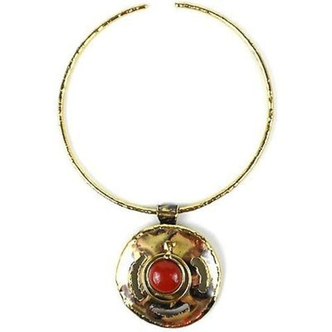 Earth's Core Red Jasper Brass Pendant Necklace - Brass Images (N)
