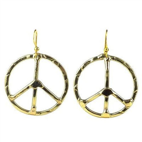 Hammered Brass Peace Sign Earrings - Brass Images (E)