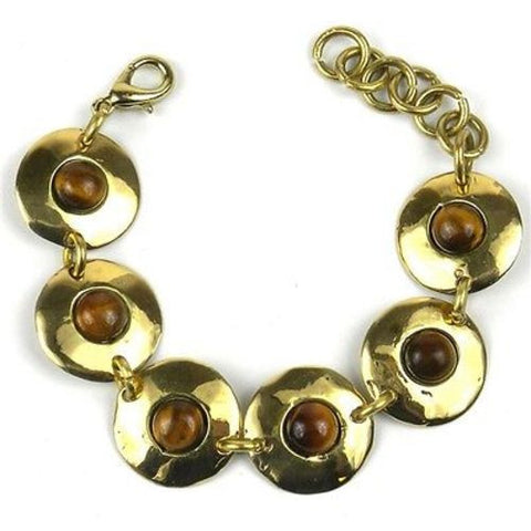 Bonbon Gold Tiger Eye Link Bracelet - Brass Images (C)