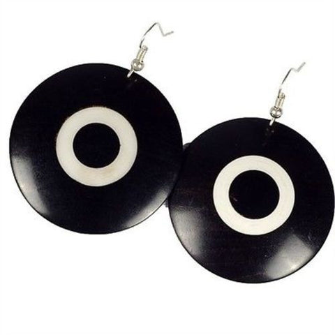 African Blackwood & Ivory Wood Disk Earrings - BaobArt