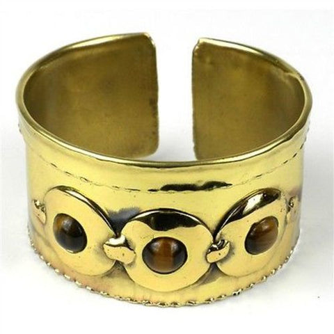 Bonbon Gold Tiger Eye Cuff - Brass Images (C)