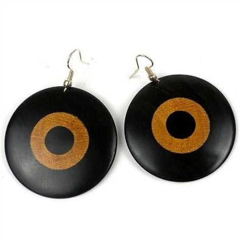 Blackwood & Teak Circles Inlaid Earrings - BaobArt