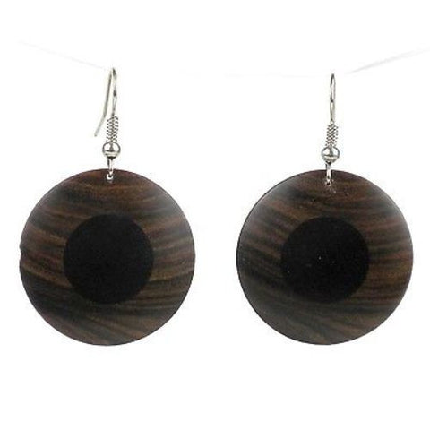 African Ebony and Teak Disk Earrings - BaobArt