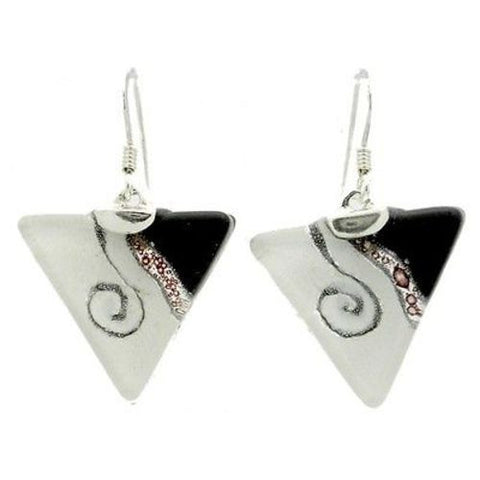 Swirl Opaque Triangle Glass Sterling Silver Earrings - Tili Glass