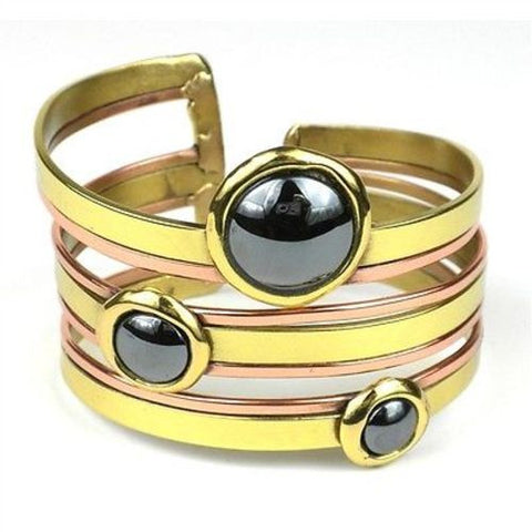 Strips and Hematite Cuff - Brass Images (C)