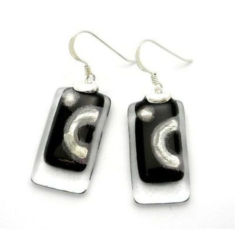 Celestial Black Stacked Glass Rectangles Sterling Silver Earrings - Tili Glass