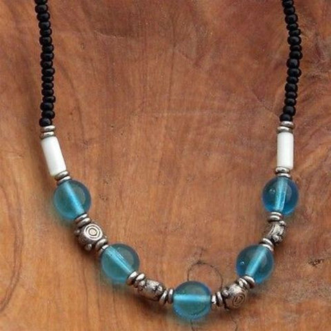 Kenyan Beaded Choker - Blue Glass - Kenya