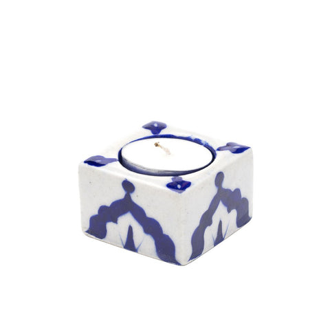 Blue Pottery Tea Light Holder - Indigo - Matr Boomie (Candle)