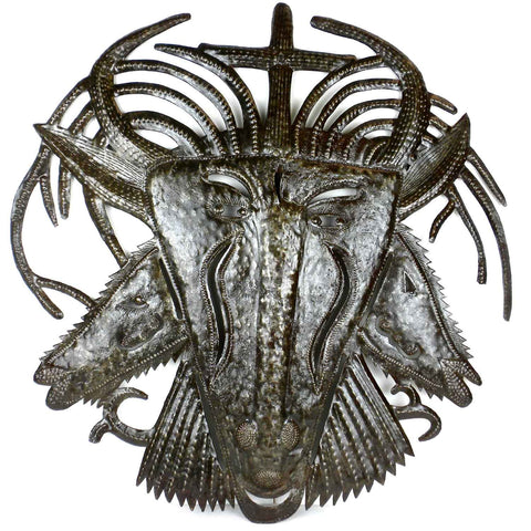 Haitian Metal Wall Art - Three Faced Goat - 001 - Croix des Bouquets