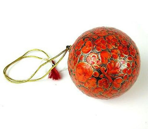 Papier Mache Ball Ornament - 2.5 inch - Orange - CFM (H)