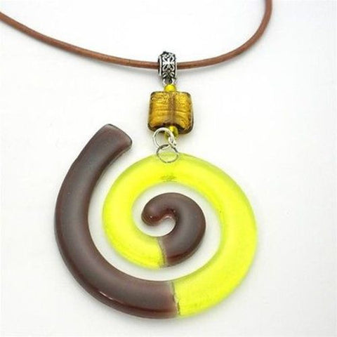 Giant Finite Swirl Glass Pendant Necklace Yellow - Tili Glass