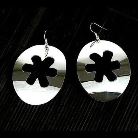 Large Silverplated Flower Cutout Earrings - Artisana