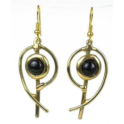 Handcrafted Onyx Note Earrings - Brass Images (E)