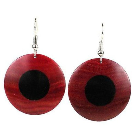 African Ebony and Rosewood Disk Earrings - BaobArt
