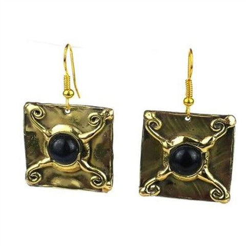 X Squared Onyx Earrings - Brass Images (E)