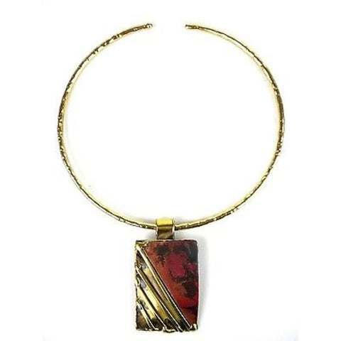 Lines Drawn Brass and Copper Pendant Necklace - Brass Images (N)